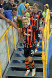 Shakhtar football players and fans Royalty Free Stock Image