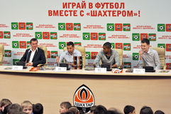 Shakhtar football players during press-comference Royalty Free Stock Photos