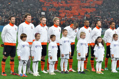 Shakhtar football team with kids Royalty Free Stock Images