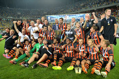 Shakhtar football team are taking photo with awards Stock Image