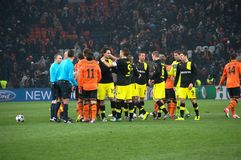 Shakhtar footballers and Borussia Dortmund at the end of the match Stock Images
