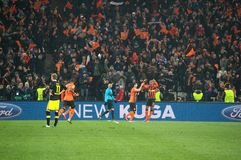 Shakhtar footballers celebrate scored goal against Borussia Dortmund Stock Image
