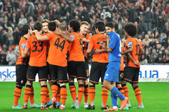 Shakhtar footballers congratulate each other Royalty Free Stock Photos