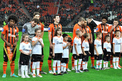 Shakhtar footballers on the field with children Stock Photos