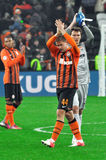 Shakhtar footballers greet fans Royalty Free Stock Images