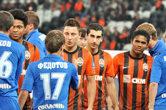 Shakhtar footballers welcome rival Royalty Free Stock Photography