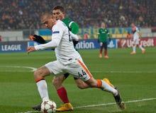 Shakhtar, juego de fútbol de Donetsk - atlética, Bilbao Imagen de archivo
