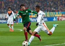 Shakhtar, juego de fútbol de Donetsk - atlética, Bilbao Imagenes de archivo