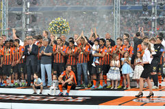 Shakhtar lag på ett podium Royaltyfri Fotografi