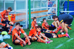 Shakhtar palyers relax during break Stock Photo