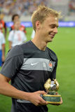 Shakhtar player with award Royalty Free Stock Photos