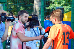Shakhtar player give an interview Stock Photos