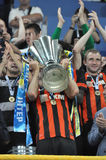 Shakhtar player is holding the cup Royalty Free Stock Photo