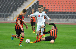 Shakhtar player knocks the ball during the fall Stock Photos