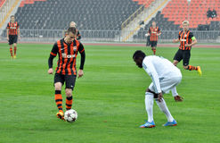 Shakhtar player playes with the ball Royalty Free Stock Photos