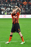 Shakhtar player shows the symbol of team Stock Photo