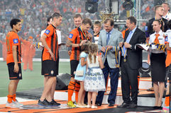 Shakhtar players are awarded by medals Stock Photography