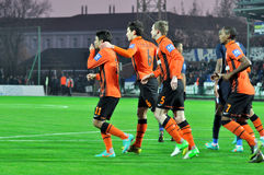 Shakhtar players back to the middle of the field Stock Images