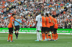 Shakhtar players builds the wall Royalty Free Stock Images