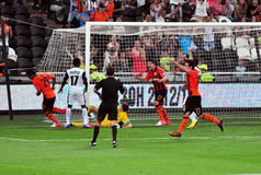 Shakhtar players celebrate scoring a goal Royalty Free Stock Images