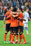 Shakhtar players congratulate each other after Royalty Free Stock Image