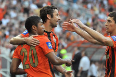 Shakhtar players congratulate each other Royalty Free Stock Photography