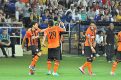 Shakhtar players dancing on the field Royalty Free Stock Photo