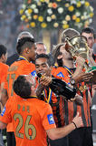 Shakhtar players are drinking champagne Stock Image