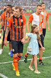 Shakhtar players and girl Stock Photos
