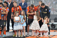 Shakhtar players and girls Royalty Free Stock Photography