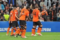 Shakhtar players after goal congtatulate Stock Image