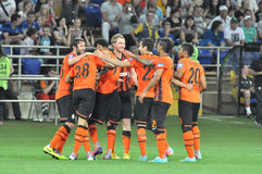 Shakhtar players hug each other Royalty Free Stock Images