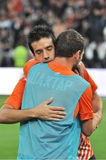 Shakhtar players hugging each other Stock Photography