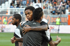 Shakhtar players hugs each other Royalty Free Stock Photo