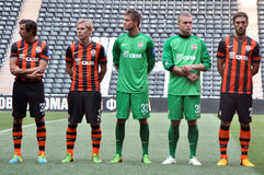 Shakhtar players in the new form Royalty Free Stock Photos