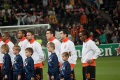 Shakhtar players during opening ceremony Stock Photo