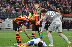 Shakhtar players are proposing to help Royalty Free Stock Photo