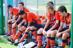 Shakhtar players rest during the break Royalty Free Stock Image