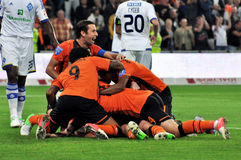 Shakhtar players selebrate goal Royalty Free Stock Photography