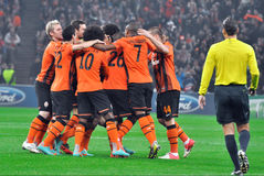 Shakhtar players selebrate the goal Stock Photos