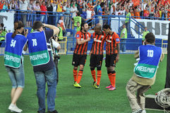 Shakhtar players selebrate the goal Royalty Free Stock Image