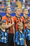 Shakhtar players sing anthem Royalty Free Stock Image