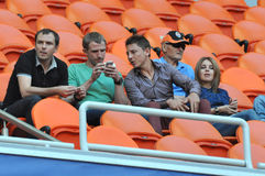 Shakhtar players sitting on the stand Stock Photography
