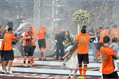 Shakhtar players in the spray of champagne Stock Photo