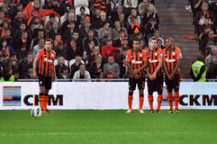 Shakhtar players team built a wall Royalty Free Stock Photo
