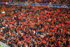 Shakhtar's Fans. DONETSK, UKRAINE - SEPTEMBER 28, 2011: The match of the Champions League FC Shakhtar Donetsk vs. FC Apoel Cyprus in Donetsk Donbass Arena on Royalty Free Stock Photo