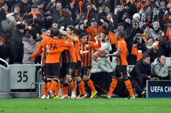 Shakhtar team celebrates scoring a goal Stock Images