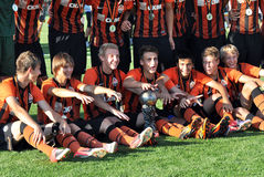 Shakhtar team with cup and medals Royalty Free Stock Photo