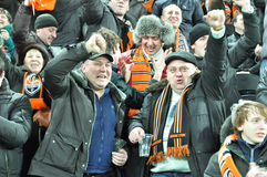Shakhtar team fans celebrate Stock Photo