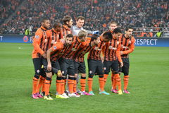 Shakhtar team before the match of the Champions League Stock Photography